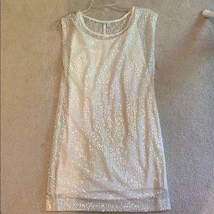 Lauren Conrad Cream Sequin Shimmer Dress
